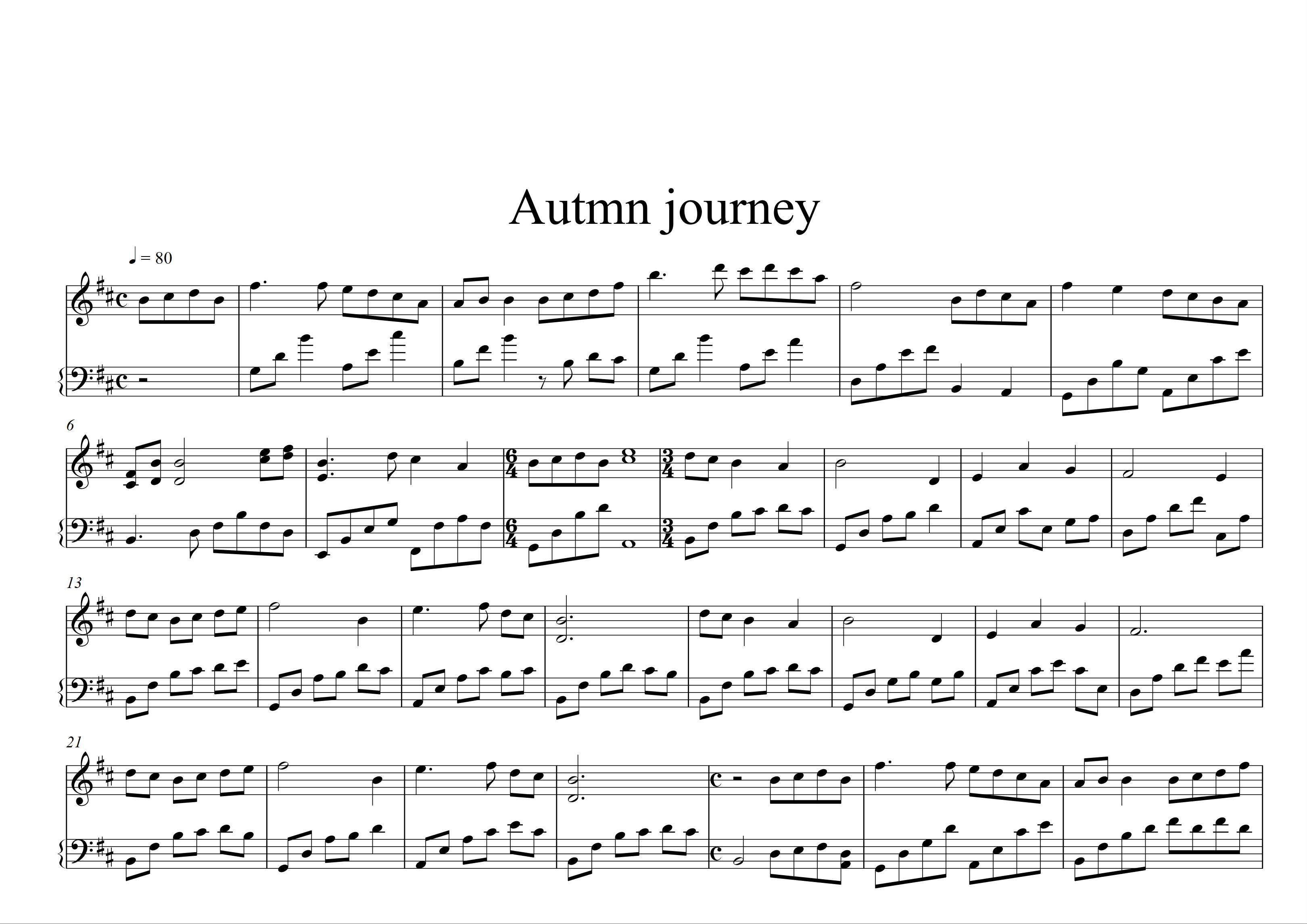 sheet nhạc piano Autumn Journey